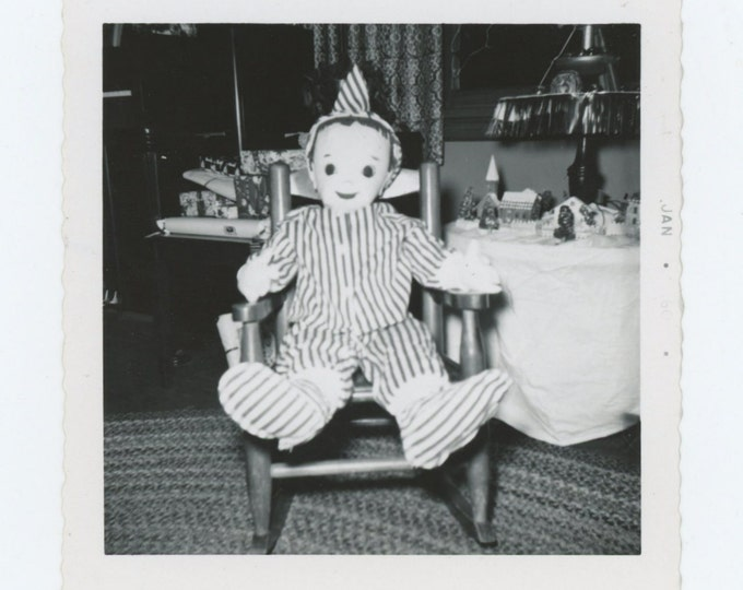 Vintage Snapshot Photo: Doll in Rocking Chair, 1960 (611520)