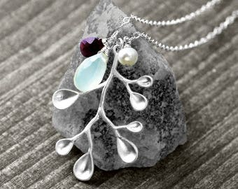 GOLD BRANCH necklace with leaf, precious stones and pearl   silver