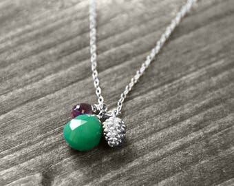 BARCELONA necklace with Pine and gem   silver