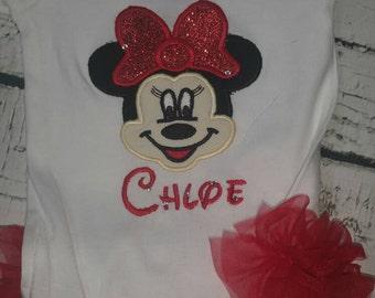 Minnie Mouse ruffled onesie