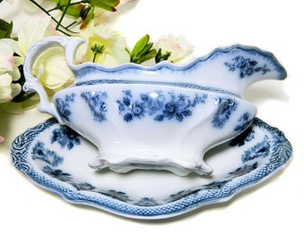 Antique W H Grindley Flow Blue Brussels Gravy Boat and Underplate