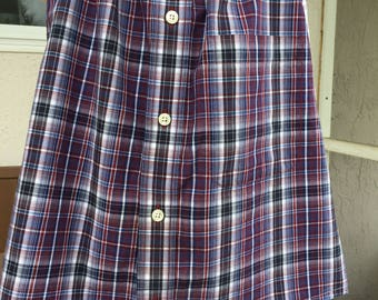 Size 1-2 red, white, blue and black child's dress made from men's shirts