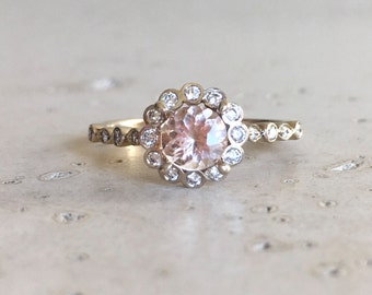 Floral Morganite Engagement Ring- Art Deco Morganite with Diamond Engagement Ring- Halo Flower Promise Ring- Unique Engagement Gold Ring