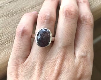 Simple Sapphire Engagement Ring- Oval Promise Ring- September Birthstone Ring- Dark Red Anniversary Ring- Classic Gemstone Silver Ring