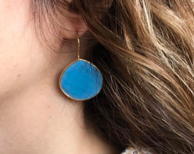 Turquoise Gold Earring- Pear Shape Blue Earring- Blue Stone Dangle Earring- Blue Turquoise Drop Earrings- December Birthstone Earring