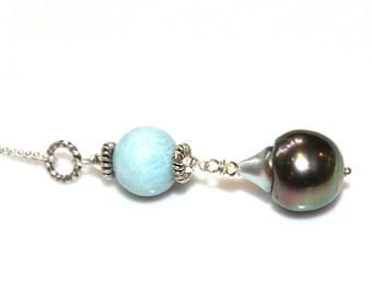 Tahitian Pearl Necklace Larimar Necklace Green Pearls Beach Necklace Caribbean Larimar Jewelry Ocean Necklace Beach Jewelry Volcano Gemstone