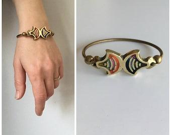 Vintage Brass Bracelet with Colorful Resin