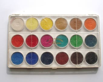 Vintage watercolor paint palette Echte deckfarbe Licolette West Germany, unused, 18 colors