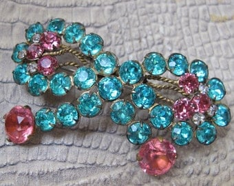 Radiant Rhinestone Crystal BOW Brooch Pin. 1930's to 1940's Costume Fashion Jewelry. Czech Crystal Sweet as Can Be Bow Brooch. Pink & Aqua