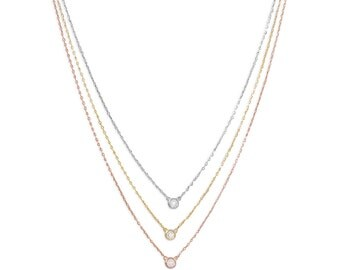 Three-tone Triple Necklace with Cubic Zirconia 14 Karat Yellow Gold and Rose Gold on Sterling Silver Delicate Necklace for Women