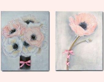 Shabby Chic Nursery Decor, Pink Flower wall art, Bouquet print, Girls room decor, Nursery wall art girl, Floral Nursery art, Girls room art