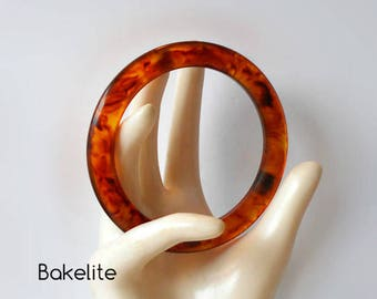Vintage Bakelite Bangle Bracelet  Root beer Tortoiseshell
