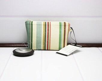Stripe Makeup Bag - Mini Makeup Pouch - Ivory Cosmetic Pouch - Zipper Cosmetic Bag - Knitting Notions - Zipper Pouch - Makeup Gift Idea