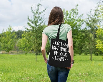 Dogs Leave Paw Prints On Your Heart // Casual Cotton Canvas Tote