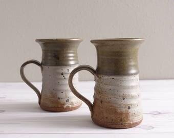 Vintage Set of 2 Mugs Studio Pottery Handmade