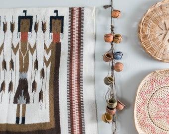 Vintage Hanging Clay Pots Mexican Sarta