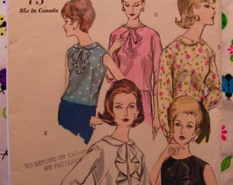 Vogue Blouse Tuck In or Overblouse Multi Sleeve Options Miss 14 bust 34 VOGUE 5860 cut used complete vintage 1960s sewing pattern