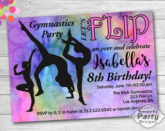Gymnastics Party Invitation | Flip Birthday Girl Colorful Invite | Printable Personalized 4 x 6 or 5 x 7