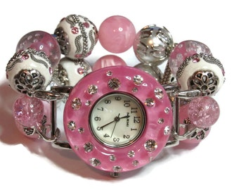 Clearance - Price Reduction - Pink and White Chunky Beaded Watch - Interchangeable Watch - BeadsnTime - Unique Watch - Womans Watch