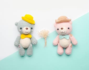 Amigurumi Journal Couple Bear: The Sweet bear, crochet bear, crochet toy,baby rabbit,pastle bear, friend gift, lover gift.