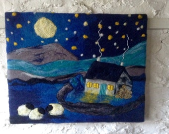Textile wall art, wet felted picture. A cosy night in