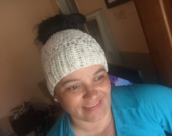 Messy Bun Hat, Crochet Messy Bun Hat, Ponytail Hat
