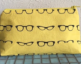 Yellow Glasses Cosmetic Case/Zipper Pouch
