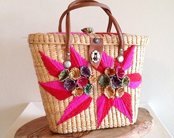 Vintage 1960s Colorful Straw Summer Mexican Purse