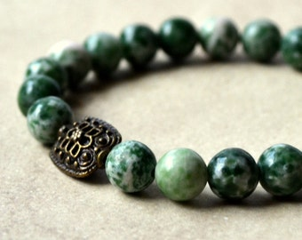 Green Jasper Boho Stretch Bracelet Antique Bronze Natural Stone Bohemian Chic Beaded Stacking Fashion Jewelry Paisley Beading FREE Shipping