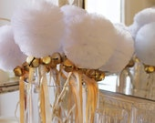 New Years Noise Makers, Jingle Belle Tulle Pom Pom Wands, New Years Party Favors, Noise Makers,  Centerpiece - Set of 10 Wands