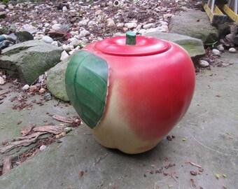 apple pottery cookie jar