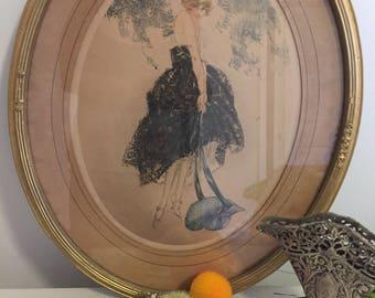 Vintage LE BONNET BLEU  Louis Icart 1923, Vintage Etching, Framed, Hollywood Regency, Paris Apartment, French, Fashion at Ageless Alchemy