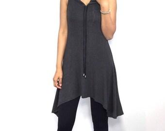 Charcoal Gray Tunic Hoodie - Jersey Knit Tunic Hoodie Resort Wear xs s m l xl