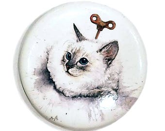 Clockwork (Exploding) Kitten Jasmine Magnet: Watercolour White Cat