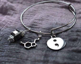 Biolojewelry -  Neurotransmitter Serotonin Molecule Semicolon Menal Health Bangle Bracelet