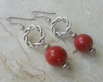 Memorial Bead Earrings - Custom Keepsake Stoneware Pottery Pet Cremains Jewelry - LOVE ME KNOT Drop Earrings