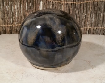 READY TO SHIP - Pottery Cremation Urn - Wheel Thrown Clay - Keepsake Cremains Jar For Family Member or Pet Ashes - Globe - Up to 32 lb