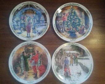 Up for sale is a Royal Doulton 4 PC - Family Christmas - decorative plates 1989, 1990, 1991 and 1992