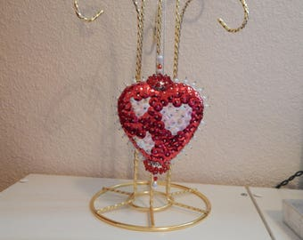 Handmade Sequins Red Heart with White Heart Trio Ornament