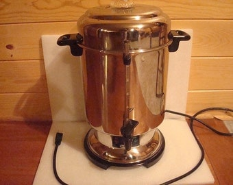 Vintage DeLonghi Stainless Steel 20 - 60 Cup Percolator Coffee Pot / Electric Coffee Urn