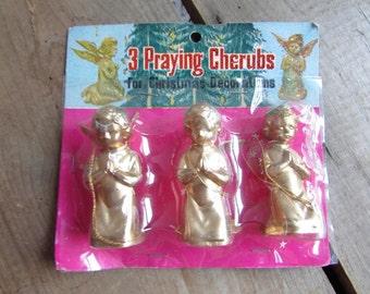Cherubs Vintage Kitschy Christmas Decorations Golden Angels
