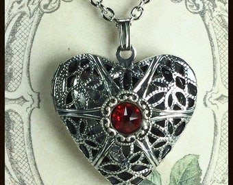Locket Heart Pendant Necklace,  Locket with Lt Siam Crystal, Aroma Therapy Locket, Locket with Swarovski® Crystal, Lockets for Women,