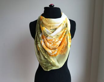 Silk Scarf, Silk Chiffon Scarf,  Floral Scarf, Handmade scarf, Women's Scarf, Gift for Her, Gift for Girlfriend,