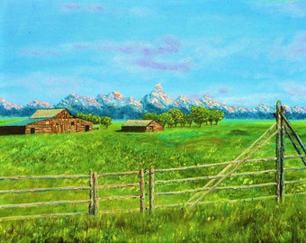 original oil painting of an old farm at the base of the Teton Mountains, Teton homestead, country art, country decor