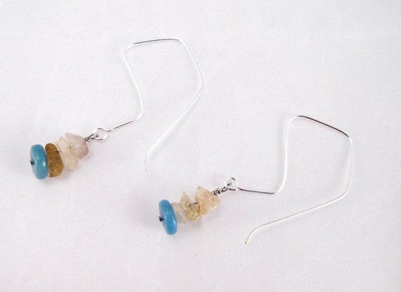 Earrings  Rutilated quartz chips and amazonite rondelle on handmade sterling silver earring wires kite shaped wires unusual earrings OOAK