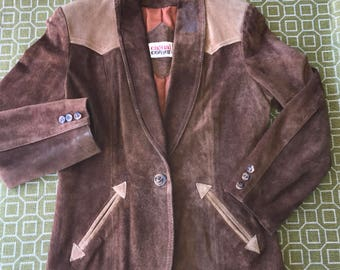 Vintage Country Western Suede Leather Blazer AMAZING by Casual Corner Brown Beige Tan Camel Coat