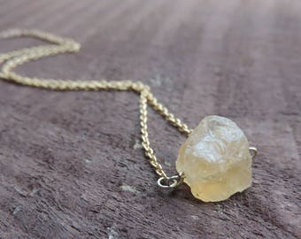 Raw Citrine Nugget Necklace, Raw Crystal Nugget Necklace, Gold Healing Crystal Necklace, Gemstone Necklace