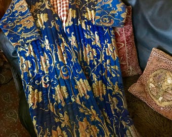 VINTAGE ASIAN COAT Exquisite Long Ethnic Royal Blue Quilted Robe-Jacket-Coat with Gold Flowers, Red Plaid Lining, Absolutely Magnificent!