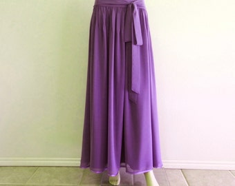 Floral Lavender Long Skirt. Chiffon Maxi Skirt. Floral Lavender Bridesmaid Skirt. Long Evening Skirt.