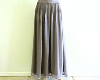 Grey Bridesmaid Skirt. Grey maxi Skirt. Long Evening Skirt. Chiffon Floor Length Skirt.